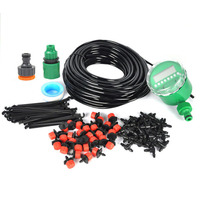 Garden Diy Micro Drip Irrigation System Plant Self Automatic Watering Timer Garden Hose Kits With Adjustable Dripper 25M