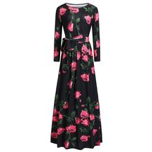 Vintage Maxi Dress Women Floral Print Elegant Party Black Fashion Spring 2019 New Lace Up Slim Ladies Boho Holiday Long Dresses(China)