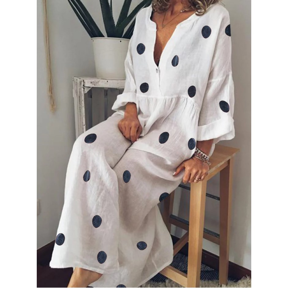 Plus Size Women Bohemian Maxi Dress 2019 Summer Sexy V Neck Long Sleeve Polka Dot Dress Spring Casual Loose Beach Dresses