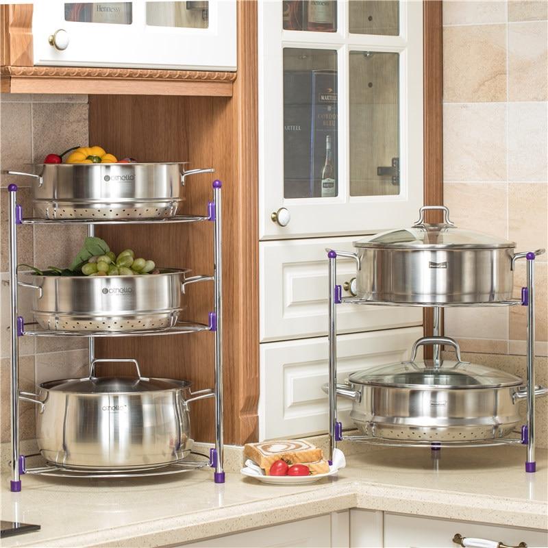 3 Tier Kitchen Pot Rack Crock Pot Shelf Round Shelf ...