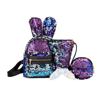 Nueva mochila de mujer escolar con Orejas de conejo, Mini purpurina, lentejuelas brillantes, etiqueta de embrague de cremallera, Bolso pequeño de hombro