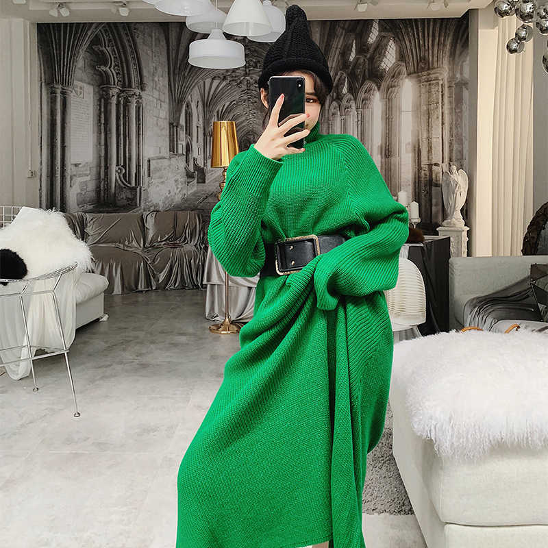 LANMREM 2019 New Fashion Turtleneck Pullovers Overlength Dress Type Sweater Female s  Long Sleeve Clothes Wish Belt 58587389bb89