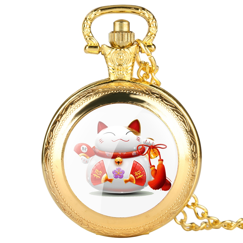 Chinese Design Lucky Cat Quartz Pocket Watch Gifts Creative Decoration Necklace Pendant Chain Clock Bring You Wealth And Luck