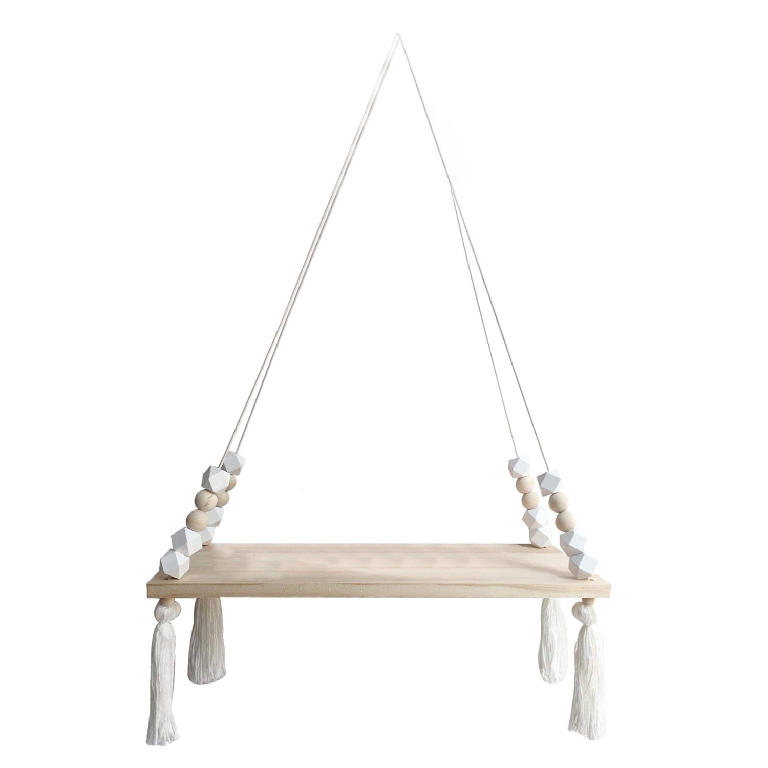 Wood Hanging Wall Shelf, Princess Style Tassel Beads Decoration Storage Display Stand For Women Girls Kids Bedroom Decor