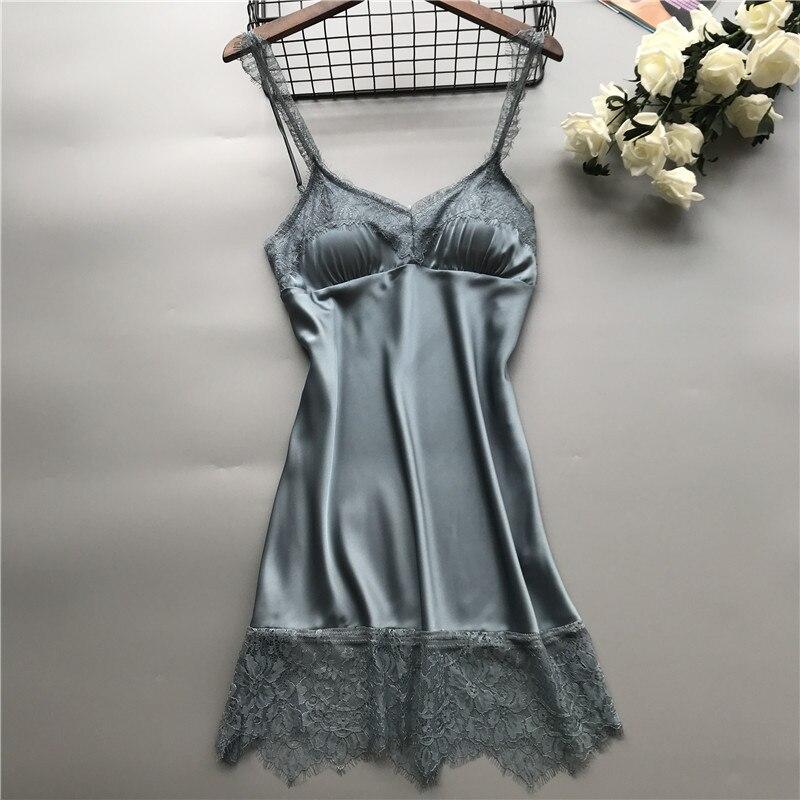 Nightgowns     Sleepshirts   Nightdress Lace Silk Solid Lingere Sexy Dress Women Night Club Lingerie   Nightgowns   Nightwear Sleepwear