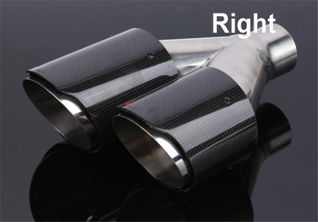 Right Double Tube OD: 66-89MM Glossy Carbon Fiber Auto Dual Exhaust Pipe Tail Exhaust Muffler Tip