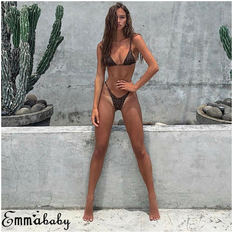 Women Sexy Leopard One Piece Push Up Padded Bra Bikini Monokini Swimwear Swimsuit Beachwear in Body Suits from Sports Entertainment