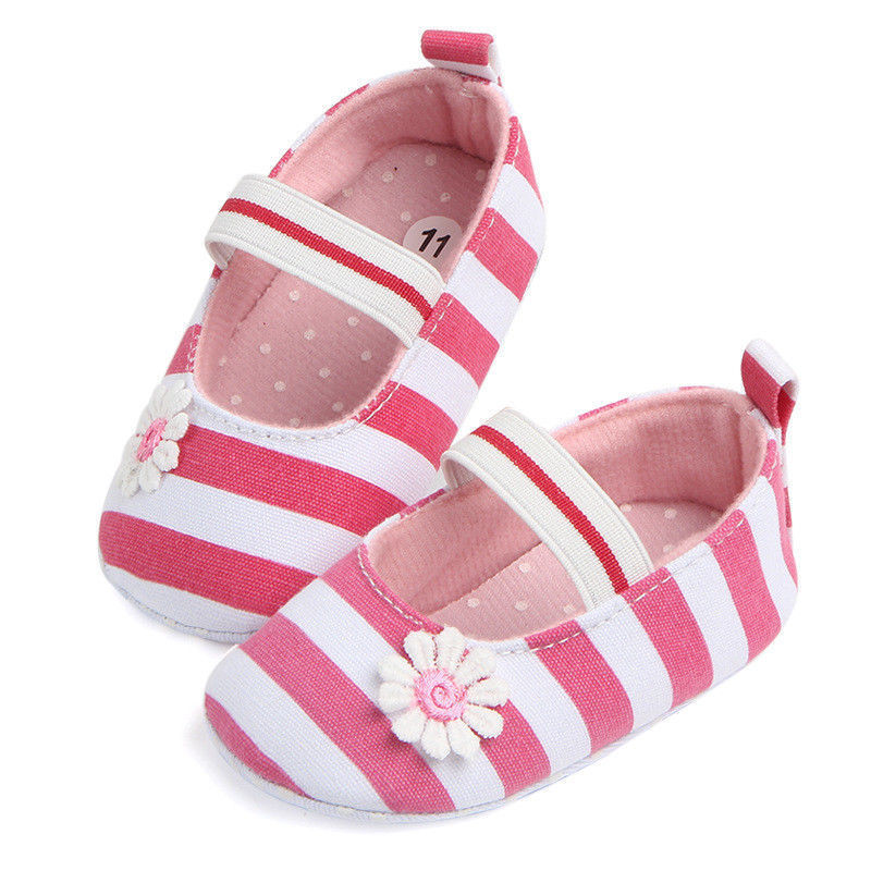 2019 New Fashion Cotton Striped Fabric Baby Boy Girl  Anti Slip Newborn Striped Shoes Slippers 0-18 Months