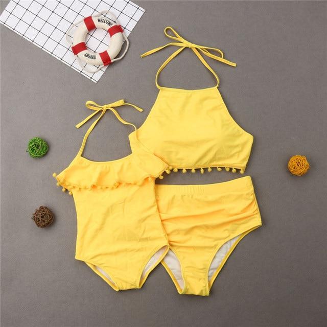 c399a684f9 hirigin 2019 Mother Daughter Bathing Suit Family Matching Swimwear Women  Bikini Kid Girl Tassel Jumpsuit Swimsuit