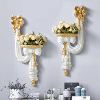 home decorative wall vase artificial flowers shelf pendart art hanging resin mural craft wedding living room ornament wall decor - DISCOUNT ITEM  30% OFF All Category