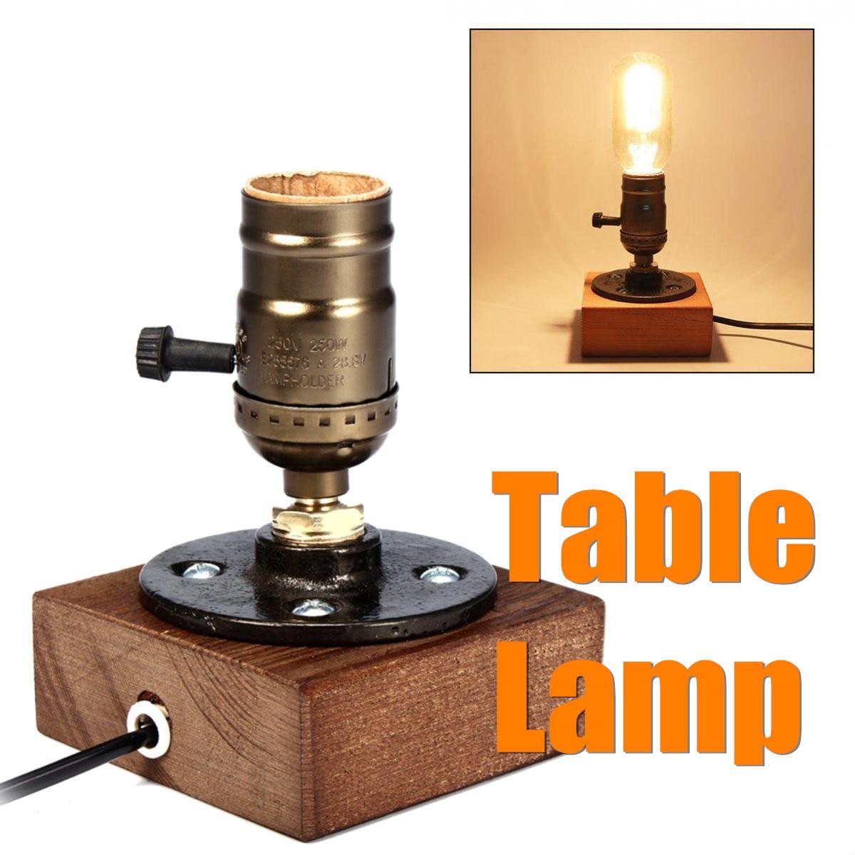 ไม้ไฟฟ้า Retro คลาสสิกข้างเตียงโคมไฟกลางคืนโคมไฟตั้งโต๊ะบาร์ร้านกาแฟแสงในร่มอุปกรณ์ E27