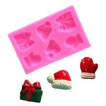 Конфеты шоколадные маффины желе пудинг случайный цвет 3D Рождественский торт плесень 6 полости силиконовые ремесленные художественные формы для домашнего использования