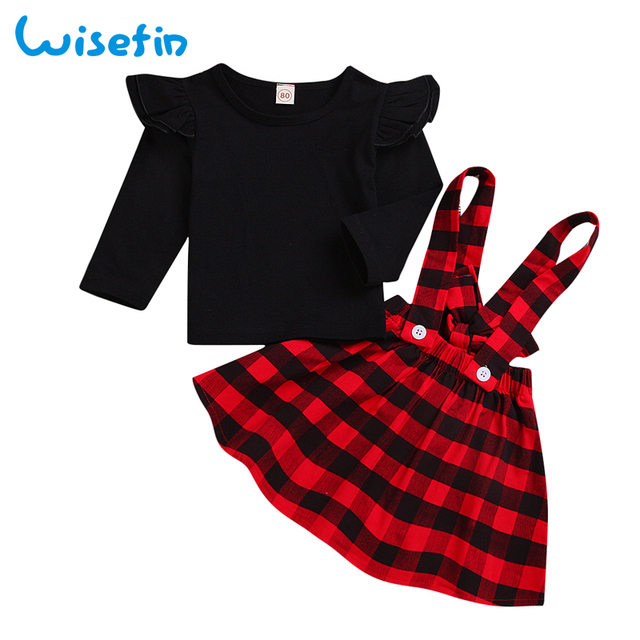 58bb206a2e4 Wisefin Baby Girl Clothes Winter Ruffles Tops Shirts+Plaid Overalls Skirt  Toddler Girls Sets Infant Clothing Set Girls Outfits