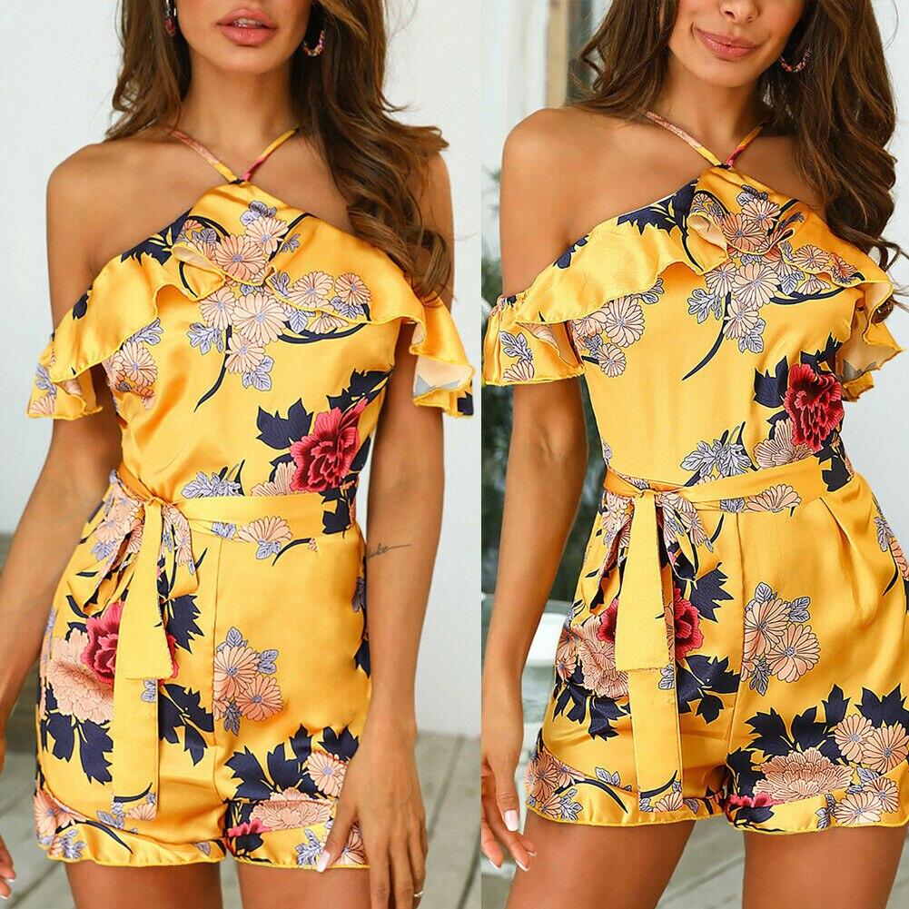 Women Holiday Boho Floral Playsuit   Jumpsuit   Shorts Halter Romper Summer Beach Casual AU