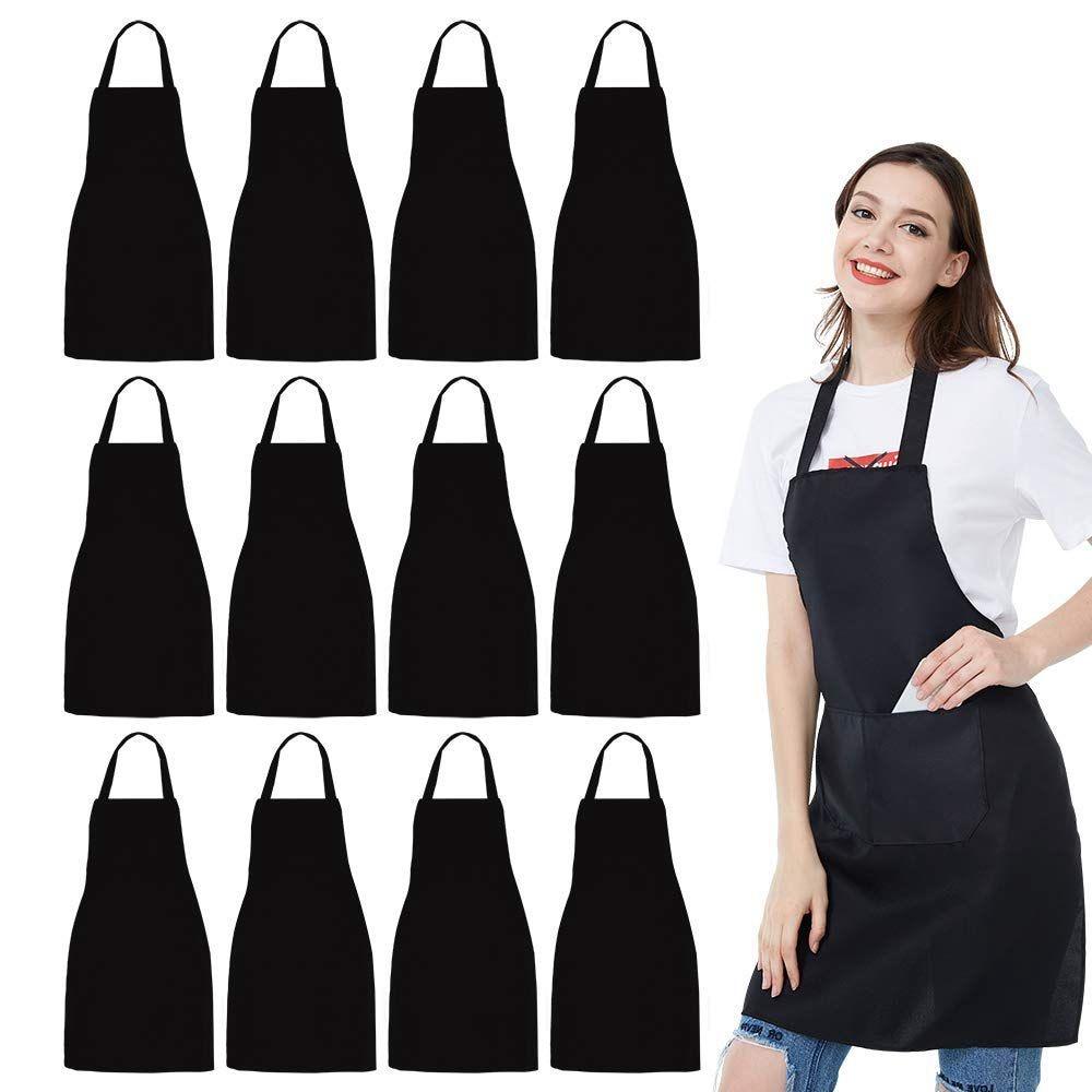 12 Pack Bib Apron - Unisex Black Apron Bulk With 2 Roomy Pockets Machine Washable For Kitchen Crafting BBQ Drawing