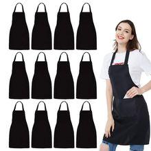 12 pacote bib avental unisex preto avental a granel com 2 bolsos espaçosos máquina lavável para cozinha artesanato churrasco desenho
