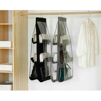 6 Pocket Foldable Hanging Bag 3 Layers Purse Handbag Organizer Folding Shelf Door 3