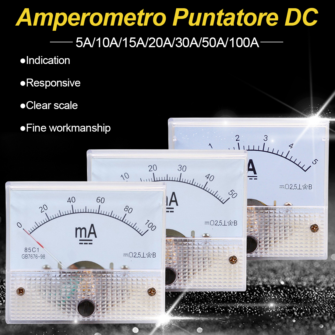 <font><b>DC</b></font> Analog Pointer Current Meter Panel 5A/10A/15A/20A/30A/50A/<font><b>100A</b></font> Gauge Current Mechanical Ammeters image