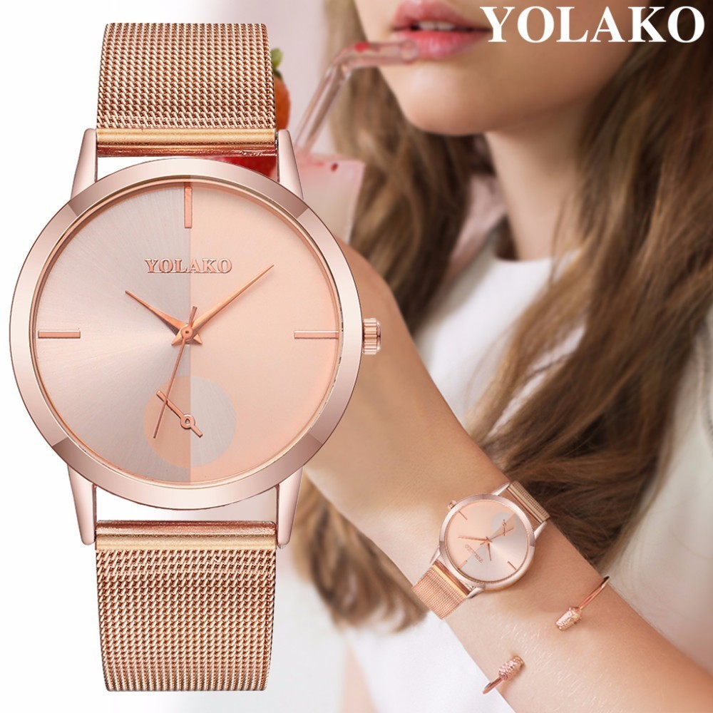 YOLAKO Brand Fashion Women Rose Gold & Silver Mesh Watch Luxury Ladies Stainless Steel Analog Quartz Watch Relogio Feminino