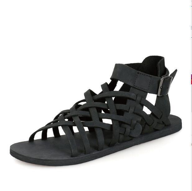 Homens 1 Coreano Couro Sandálias Cortar Quentes Dos Gladiadores Genuíno 2 Sapatos Calcanhar Lazer Verão Plana De Estilo 64aqw
