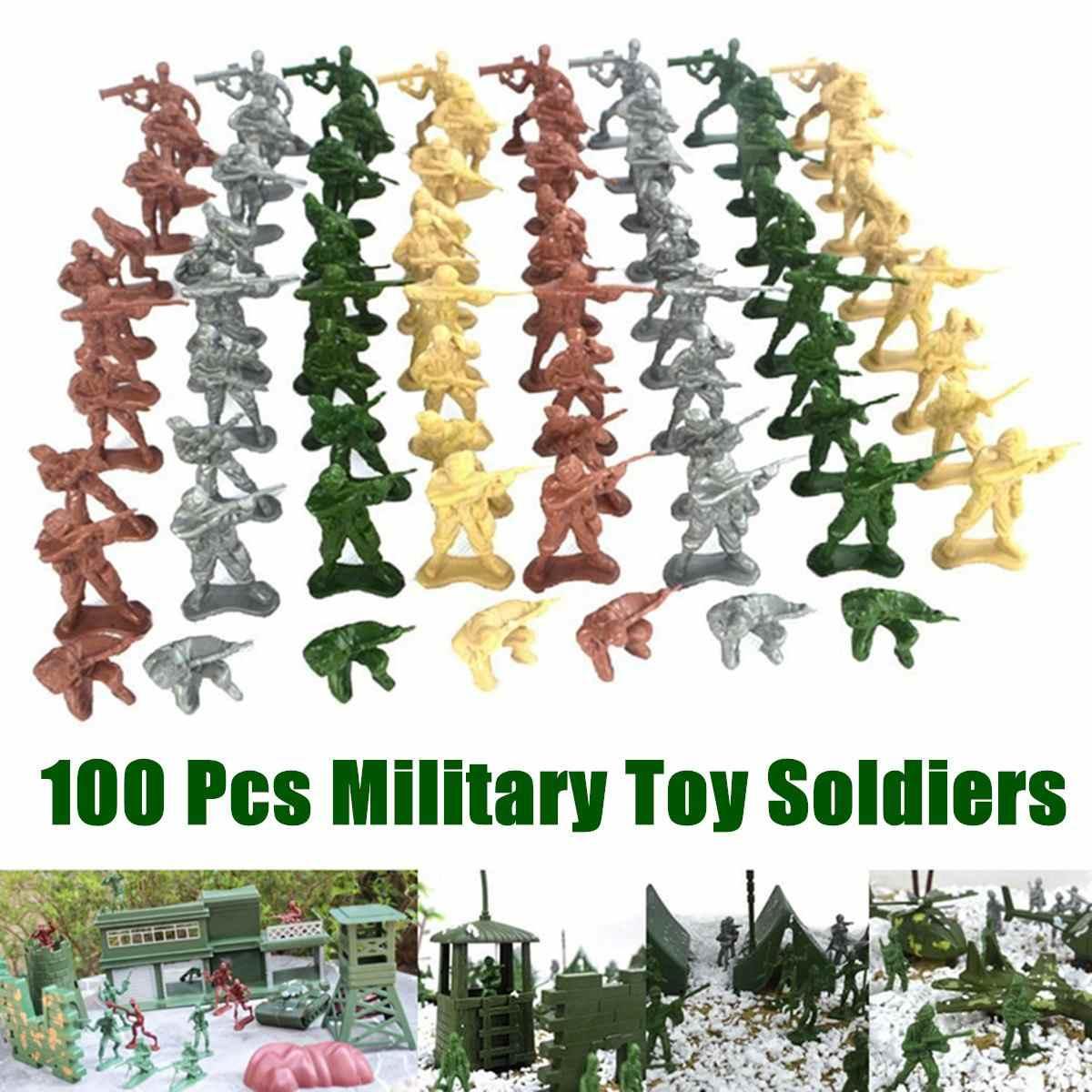 100 шт./компл. Пластик Военная игрушка модель игрушки комплект армии Для мужчин Фигурки игрушки Фигурки аксессуары Подарки для детей 4 цвета