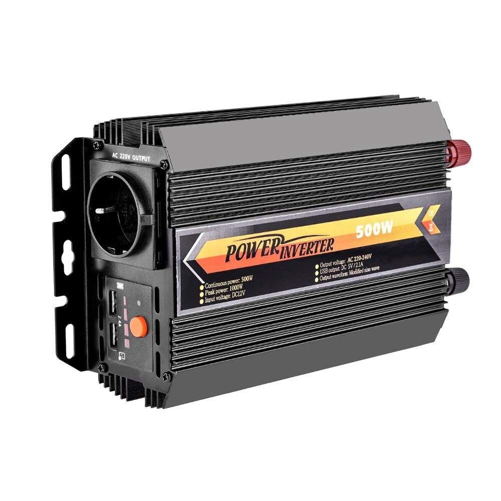 Convertisseur de tension DC 12 V DC à AC 220 V voiture onduleur avec Certification TV et 2 Ports USB, y compris voiture allume-cigare Plu