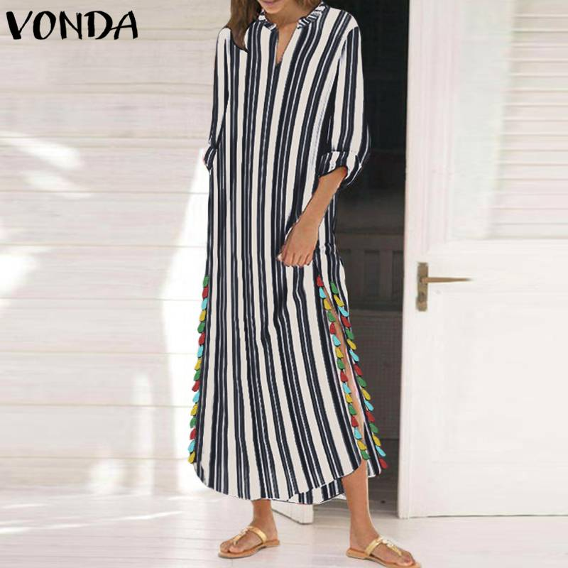 VONDA Women Vintage Striped Maxi Long Dress 2018 Casual Side Slit Tassel Loose Dresses Plus Size Boho Holiday Vestidos