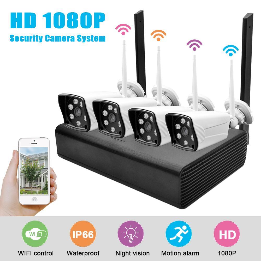 4ch HD 1080 p caméra vidéo Hd kit de moniteur 3.6mm Ip Caméra de Surveillance Caméra caméras de sécurité et de Surveillance Vidéo de Sécurité