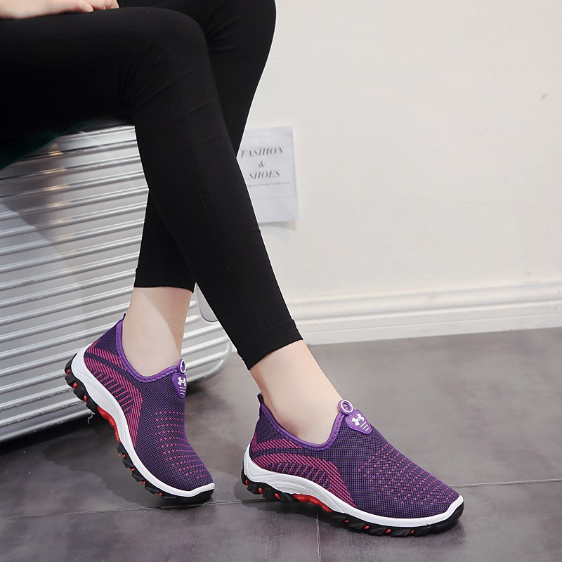 Fashion Light Ladies Sneakers Casual Mesh Air Shallow Woven Shoes Low Comfort Woman Sneakers Autumn Slip-On Casual Suede Shoes sewor c1257