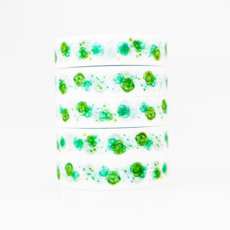Green Flower Pattern Washi Masking Tape Sticky Color Decorative Tape Set DIY Decoration Office Stationery Scrapbook 1PCS
