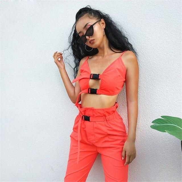 2 pièces femmes Cami Cool soutien-gorge bouton évider hauts sans manches ceinture poches Cargo pantalons longs Hip Hop ensemble 3