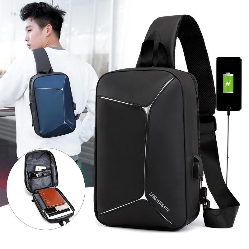New USB Backpack Shoulder Mochilas One Strap Smart Bagpack Men Bag Travel Classic Teenage Shockproof Urban Crossbody Back Pack