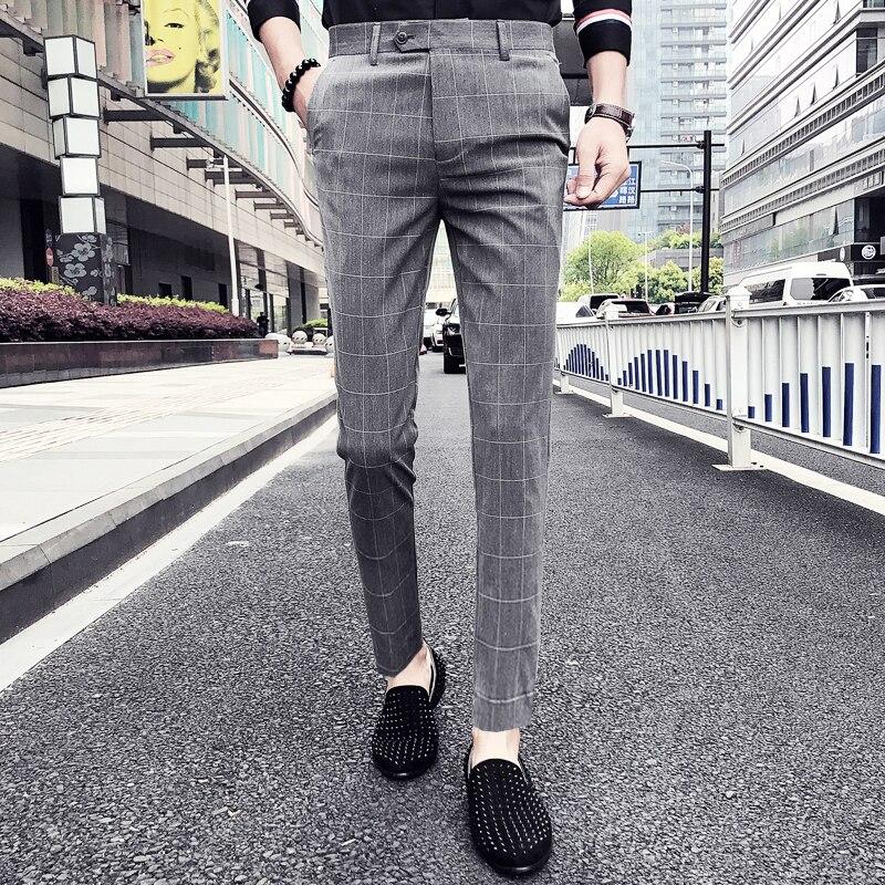 Pantalon Clasico Hombre Plaid Suit Trousers Pants Men Wedding Pants  Men Office Pants Black Gray Casual Business Pants Slim Fit