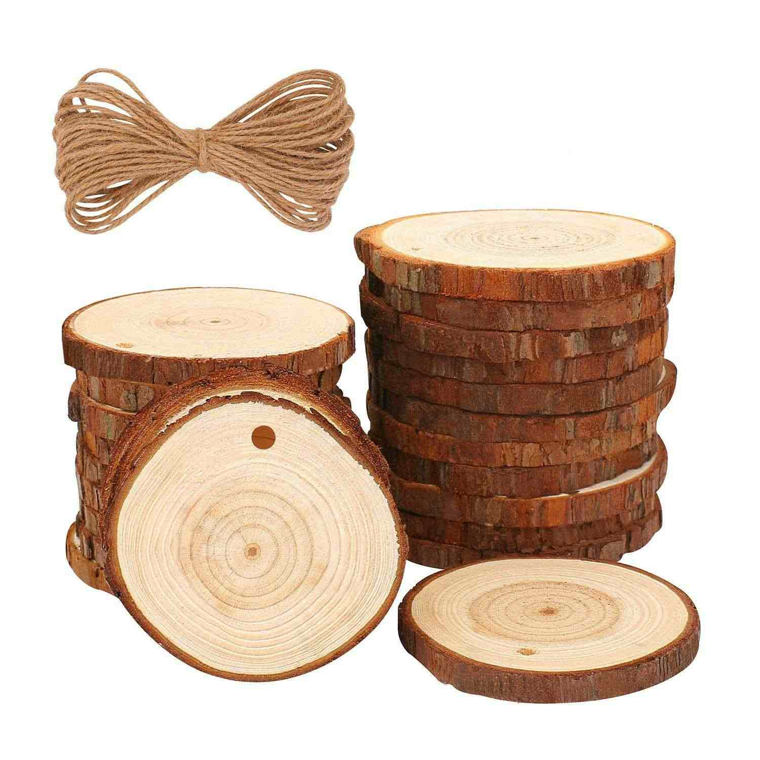 Hot-Natural Wood Slices 20 Pcs 3.5 inch-4 inch Craft Wood Kit Unfinished Predrilled With Hole Wooden Circles Tree Slices For A