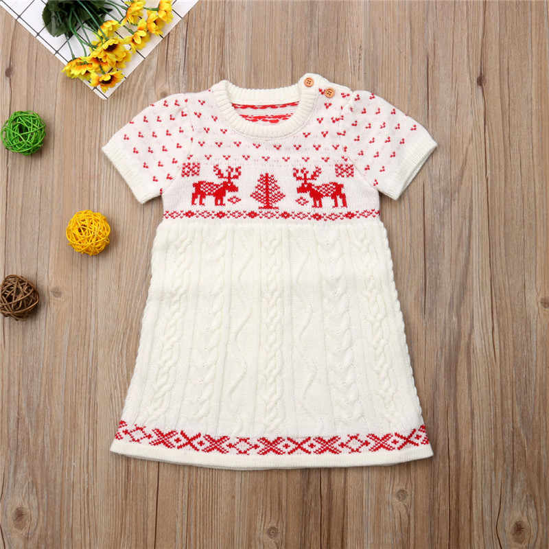 f5a25be82f59 ... CANIS Toddler Baby Girl Dress Christmas Kid Dress Clothes Long Sleeve  summer Knitting Wool Sweater Crochet ...