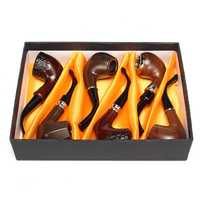 YKPuii 6Pcs/Set Classic Style Wood Tobacco Smoking Pipes Best Gift for Grandfather Boy Friend Father's Day gift
