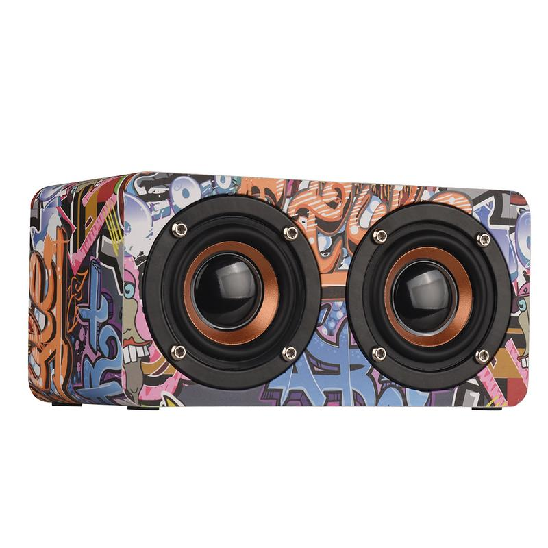Image 2 - Graffiti Wooden Player Wireless Bluetooth Speaker Desktop Home Audio Street Dance Fashion Audio Stereo Hd Hifi Sounds Devices-in Portable Speakers from Consumer Electronics