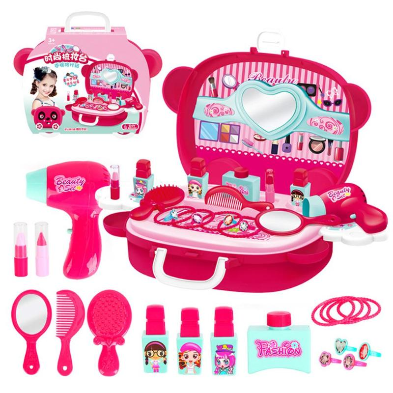 New Children Pretend Play Kid Make Up Toys Makeup Set Hairdressing Simulation Plastic Toy For Girls Dressing Cosmetic Travel Box