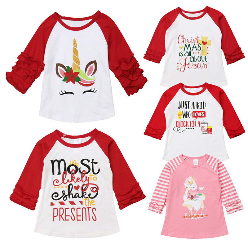 Pudcoco Toddler Baby Girl Christmas Unicorn Long Sleeve Tops Letter Print Layer Sleeve T-shirt Clothes letter print long sleeve sweatshirt dress page 5