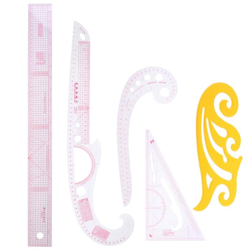 5pcs Metric Styling Rulers Curve Set Cutting Ruler Arm Sleeve Yardstick Multipurpose Sewing Tools For Clothing Cutting Proofing