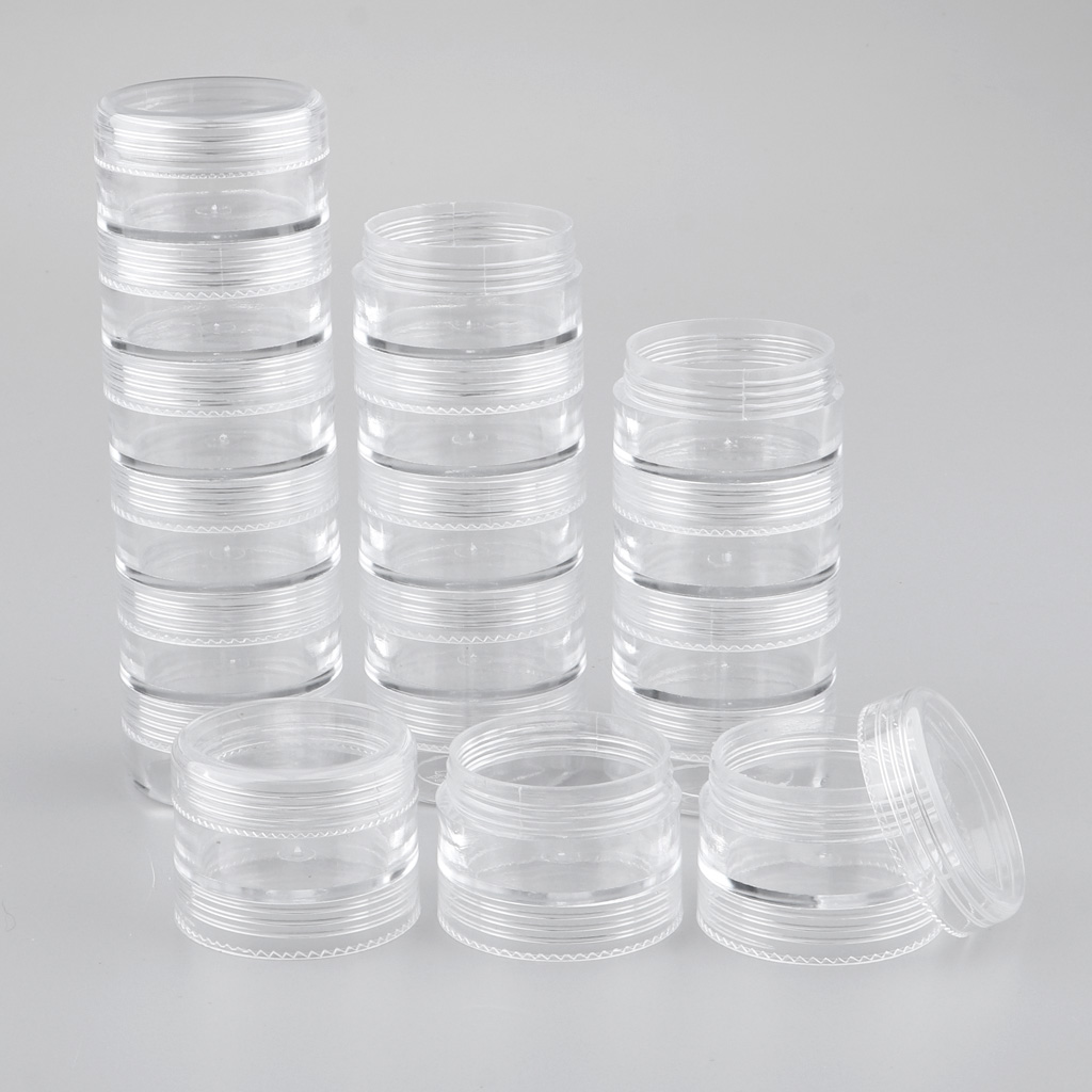 MagiDeal 6 Tiers Empty Stackable Jar 18 Clear Round Containers W/ Screw Lids Food-Grade PS Plastic