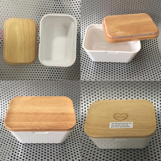 JX-LCLYL Manteiga Caixa Titular Recipiente De Armazenamento Servindo Prato Melamina Com Tampa De Madeira