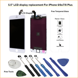 TRANSAID Grade AAAA Screen with tools and tempered glass replacement for iPhone 8 7 6S 6 Plus LCD Display touchscreen assembly