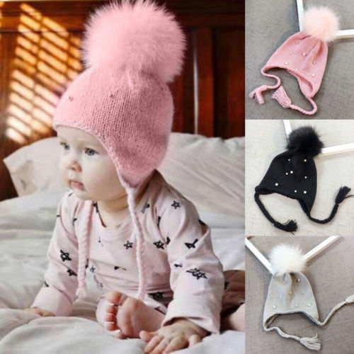 73d2aa0c14f Children Baby Girl Knitted Beaded Elastic Caps Beanies Hat Toddler Girls  Kids Ball Wool Winter Warm Soft Skull Beanies Hats Cap