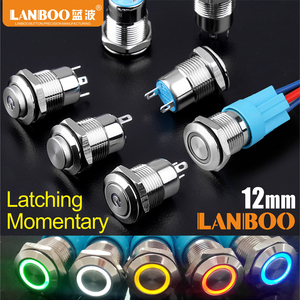 LANBOO 12 мм металлический водостойкий мгновенный Маленький кнопочный переключатель
