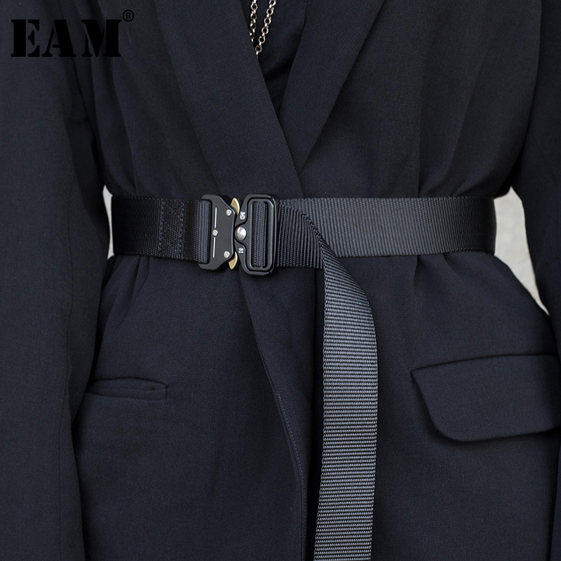[EAM] 2019 New Spring Summer Black Ribbon Buckle Split Joint Personality Long Belt Women Fashion Tide All-match JR962