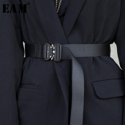 [EAM] 2021 New Spring Summer Black Ribbon Buckle Split Joint Personality Long Belt Women Fashion Tide All-match JR962