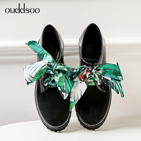 ODS 2019 Hot Spring Autumn Flats Lace up Cross tied Round Toe Black Casual Ladies Lace up Soft Leather Women Oxford Shoes Woman