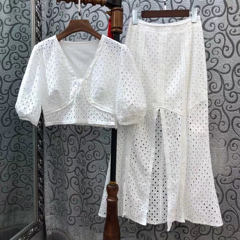 TWOTWINSTYLE Embroidery Hollow Out Women Suit V Neck Puff Sleeve Short Tops High Waist Split Skirt Female Two Piece Set Fashion