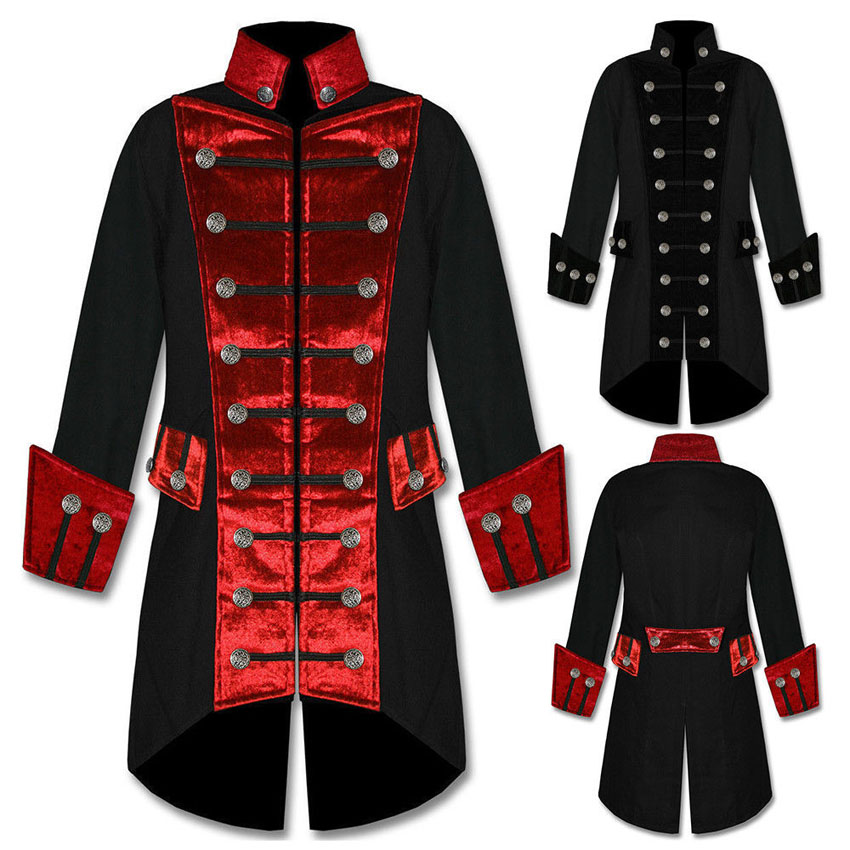 Men Retro Renaissance Victorian Costumes Double Breasted Trench Purim Halloween Cosplay Steam Punk Style Jacket for Male